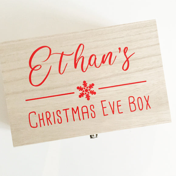 Personalised Wooden Christmas Eve Box - Snowflake design
