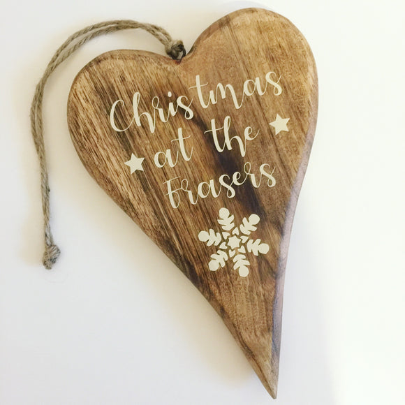 Personalised Christmas Wooden Heart Sign Plaque