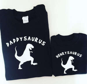 Daddysaurus and child Dinosaur T-shirt Set