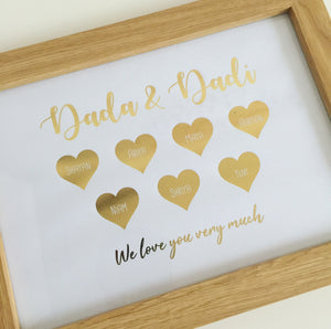 Personalised Foiled Grandparents Heart Frame