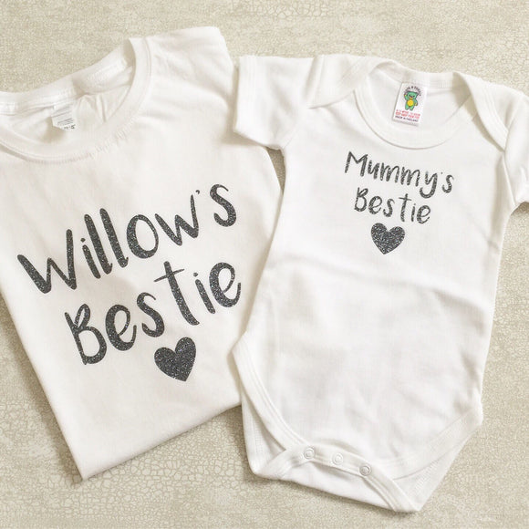 Personalised Mummy and Child Bestie T-shirt set - Matching adult/kids