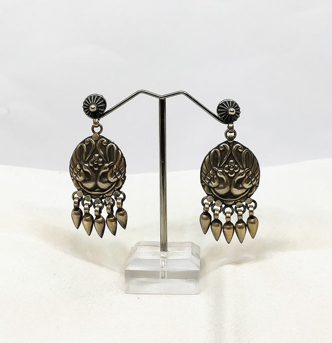 Sterling Silver peacock earrings - the ladakh art palace