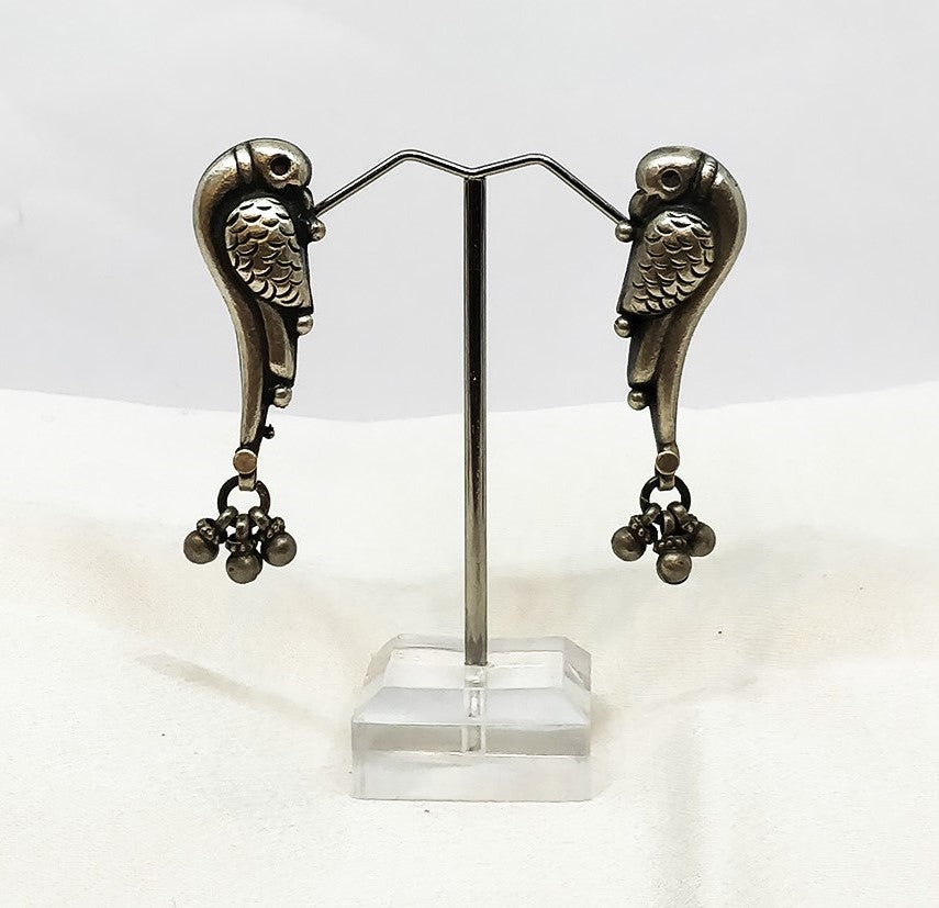 Sterling silver earrings parrot - the ladakh art palace