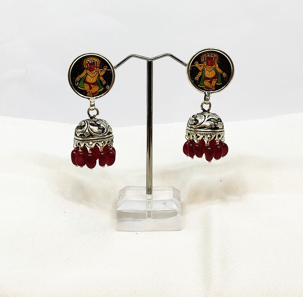 Pure Silver Ganesh Ji earring with ruby - the ladakh art palace