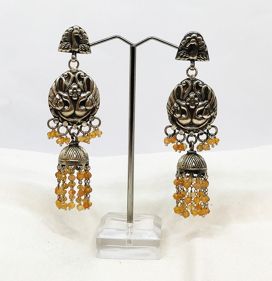 Sterling silver peacock earring danglers - the ladakh art palace