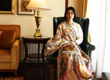 Load image into Gallery viewer, Hand Made Kani Shawl Off White With Floral Design - the ladakh art palace