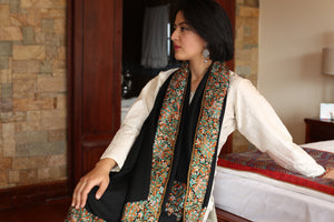 Hand Embroidery Papier Mache Pure Pashmina Stole - the ladakh art palace