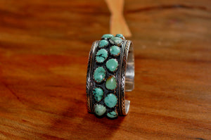 Turquoise and silver bangle. - the ladakh art palace