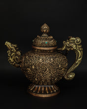 Load image into Gallery viewer, Brass hand carved teapot - the ladakh art palace