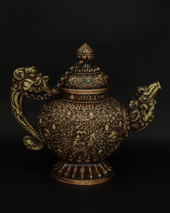 Brass hand carved teapot - the ladakh art palace