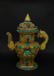 Gold plated filigree teapot - the ladakh art palace