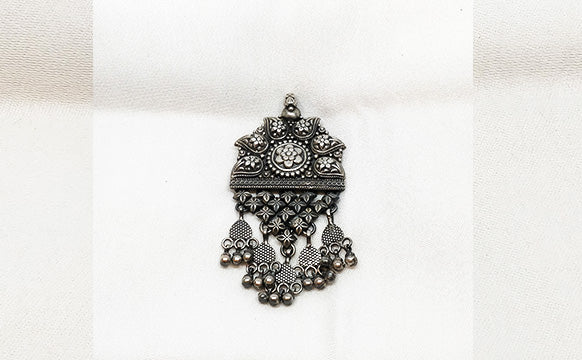 Pure Silver Pendant Antique Oxidized - the ladakh art palace