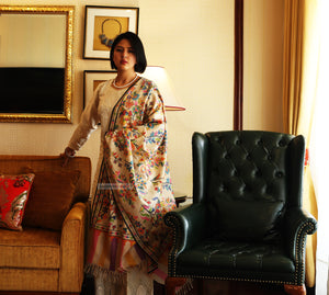 Hand Made Kani Shawl Off White With Floral Design - the ladakh art palace