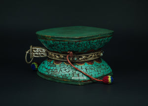Turquoise and Silver Drum or Dumru - the ladakh art palace