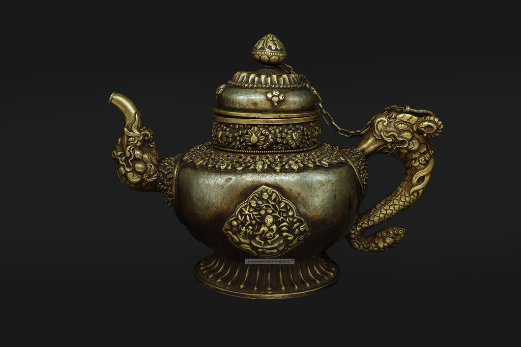 Brass and White Metal Teapot Hand made in Ladakh - the ladakh art palace