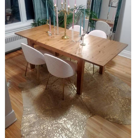 Cowhide rug vermont woodstock in golden metallic with back finished to suede an addition to your glam decor 1930shome kitchen cowhide rug first house.