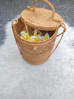 Rattan Bag Made in Bali Round 3 Stacked Hamper Basket.