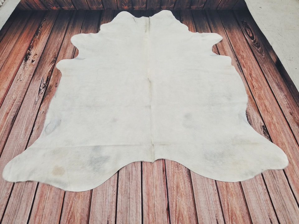 White Cowhide Rug Brazilian Hair On Cow Hide 82 by 77 inches