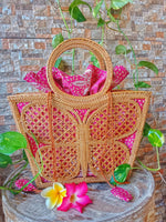 vintage rattan purse market bag
