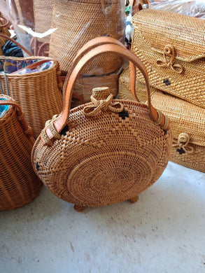 Round Rattan Bag with Handle