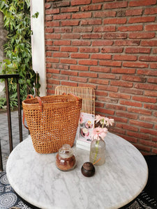 Rattan basket Bag Brown Leather Strap