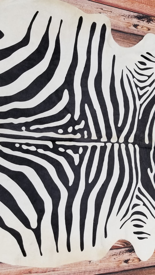 zebra cowhide rug Brazilian Hair On Cow Hide 88 by 72 inches 1517