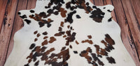 Speckled Brown White Cowhide Rug 7ft x 6.6ft