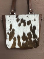 hair on cowhide tote bag