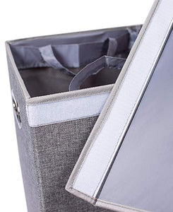 Home Double Laundry Hamper with Lid and Removable Liners | Linen | Easily Transport Laundry | Foldable Hamper | Cut Out Handles