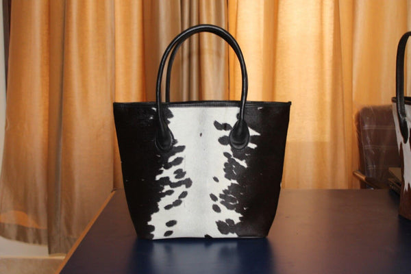 Cow Fur Tote Bag Black White