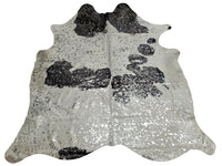Brazilian Metallic Silver Cowhide Rug 82 X 75 Inches