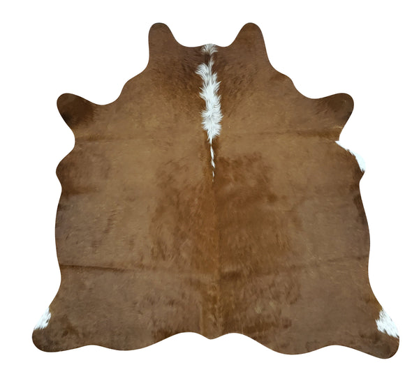 Extra Small Cowhide Rug Brown White 4.3ft x 4ft
