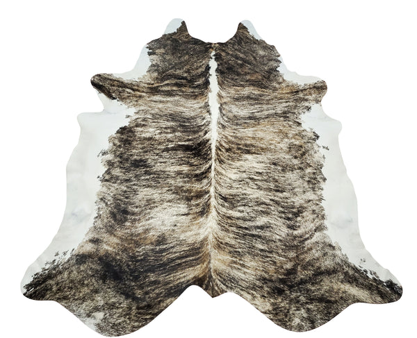 Extra Large Tricolor Brindle Cowhide Rug 7.8ft X 6.5ft