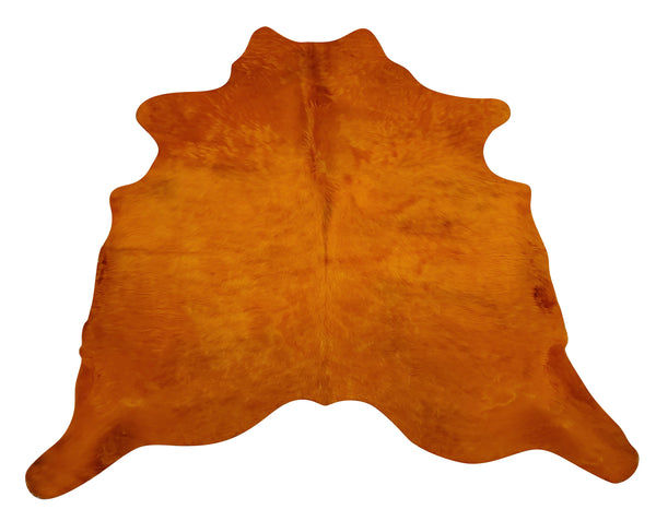 Dyed Orange Cowhide Rug 6ft x 5.5ft