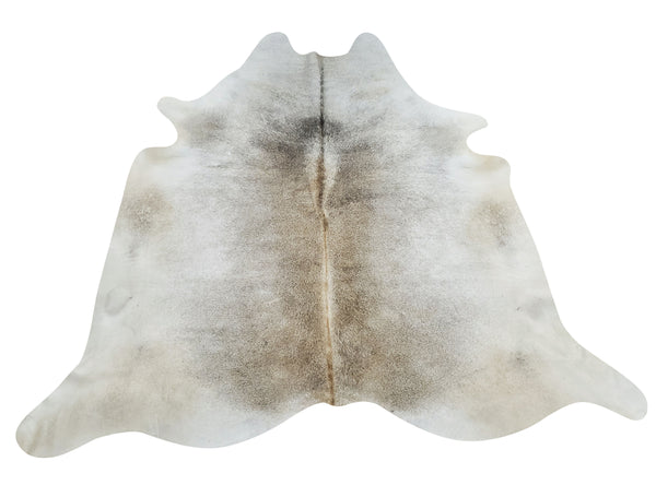 A grey cowhide rug prettier than pictured, soft lighter colors great for upholstery, it will blend beautifully with taupe white furniture and free shipping.