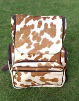 Cowhide Diaper Bag Brown White
