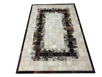 Cowhide patchwork rug in black white with free shipping all over USA