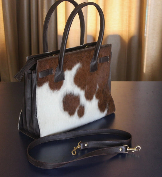 Real Cowhide Ladies Bag Brown White