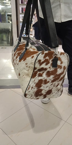 Cowhide Duffle Airport Bag  in brown and white real leather