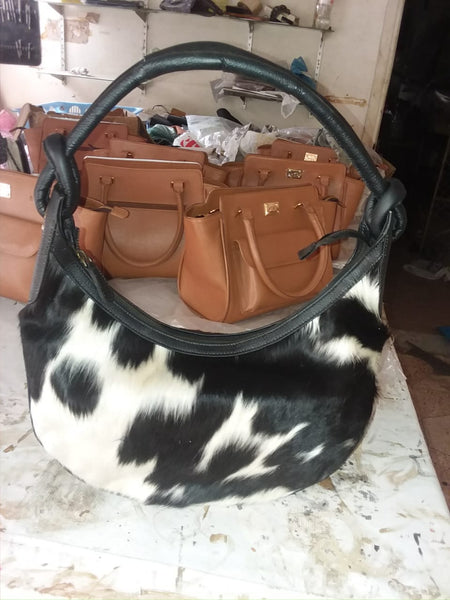 pony hair half moon bag