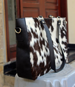 cowhide leather messenger bag dark brown and white