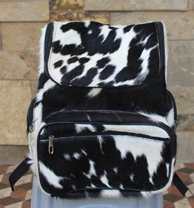 Calf hair backpack black and white real hair on hide travel bag
