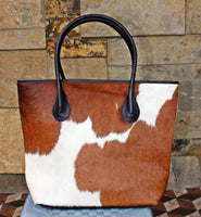 Pony Hair Tote Bag Brown And White
