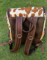 Cowhide Mommy Bag Diaper Backpack Style