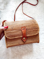 Brown Handwoven Rattan Bag Bali Envelope