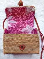 Brown Handwoven Rattan Bag Bali Envelope Style