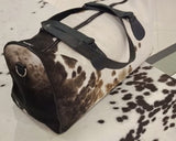 cow hair duffel bag