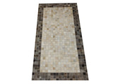 black cowhide patchwork rug