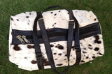 black white cow skin travel bag