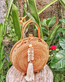 Brown Handwoven Round Rattan Bag Bali Straw Bags Cross body Purse
